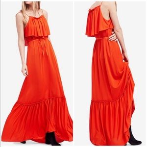 Free People Coco Popover Red Ruffle Maxi Dress